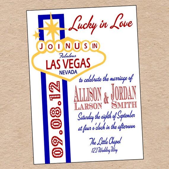 Las Vegas Wedding Invitation Wording: Items Similar To Las Vegas Wedding Invitation Or Save The