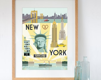 Art Print of New York City Retro Travel Poster Style