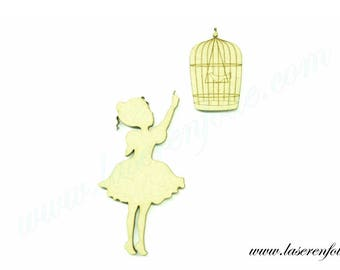Girl pointing to the cage and bird, made in medium, size 5cm