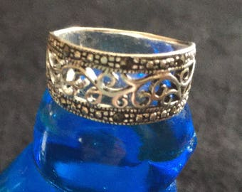 Celtic Sterling Ring, Size 7, Decorated With Marcasite Stones Around a Pierced Band