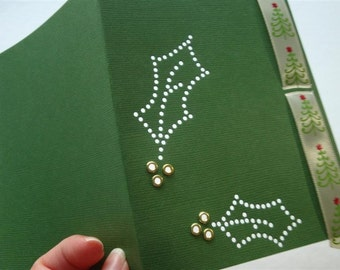 Christmas Evergreen Holly Custom Holiday- One Embellished Hand-hammered Premium Greeting Art Card - DDOTS