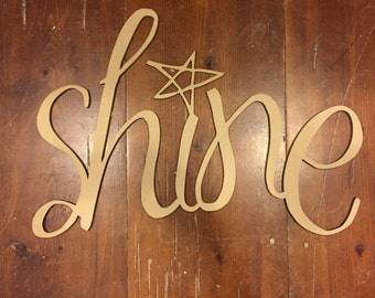 Modern Laser Cut Wood Sign Shine Script Wall Decoration