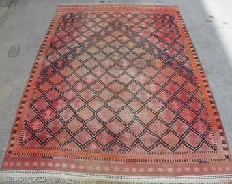 "92"" X 58"" Diamond design cecim Kilim rug, Vintage Turkish rug, rugs, vintage rug, bohemian rug, eccentric rug, cecim, red kilm"