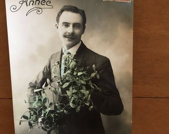 Vintage French Postcard - Bonne Annee Gentleman