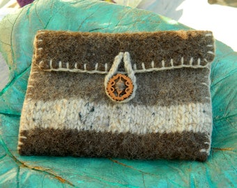 Hand knit wool felted purse