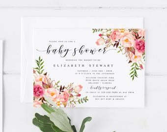 Pink Bohemian Floral Spring Baby Shower Invitation Template DIY Baby Shower Template Pink Baby shower Invitation Modern Baby Shower Template