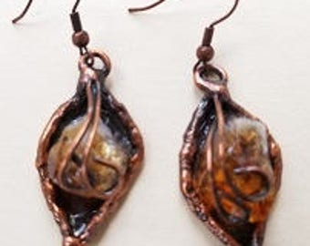 Copper Earrings with Citrine