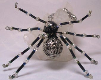 beaded spider - black and silver