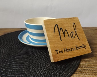 Personalised Coaster  - Personalised thick cut oak wood coaster - Add Any name - Family coaster - Tableware - Drinks coaster