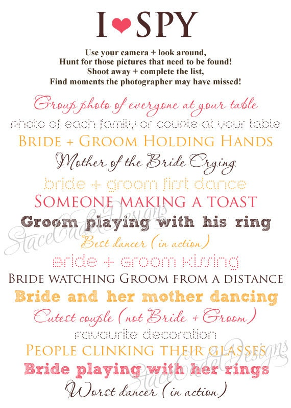custom printable i spy wedding photos card digital file