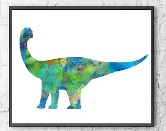 Watercolor dinosaur print, dinosaur art, nursery dinosaur, blue, green,  kids dinosaur, watercolor jurassic park - H205