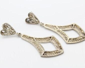 Vintage Filigree Long Dangle Earrings With Heart Motif in Sterling Silver. [7353]