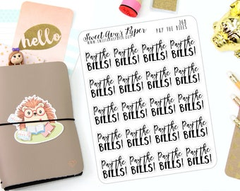 Bill Planner Stickers - Word Art Planner Stickers - Lettering Planner Stickers - Pay The Bills Planner Stickers - Fits Most Planners - 268