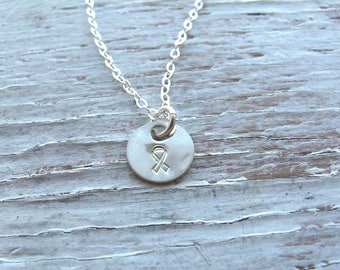 Free Shipping, Breast Cancer Necklace, Awareness Jewelry, Hand Stamped, Tiny Circle, Sterling Silver, Inspirational Jewelry, READY TO SHIP