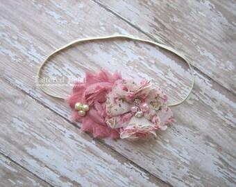 Dusty pink headband, Mauve headband, dusty rose headband, mauve ivory, ivory and mauve, dusty pink ivory, baby headband, dusty rose headband