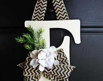 Off White Chevron Burlap and Ivory Hydrangea Wreath, Monogram Wreath, Chevron Wreath, Front Door Letter, Burlap Letter Wreath, Winter Wreath
