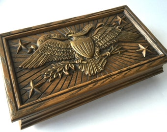 "Vintage Avon Cologne Jewelry Trinket Box FAUX Wood Embossed Eagle Stars Large 11"" x 6.5"""