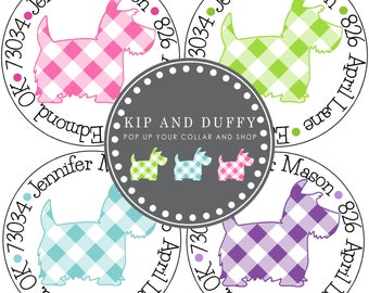 Scottie Gingham Address Labels, White Gloss Labels, Scottish Terrier Address Stickers, Preppy Address Labels