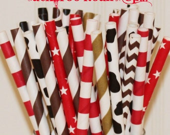 Paper Straws, 25 Buckaroo Cowboy Party Paper Straws, Red Paper Straws, Gold Paper Straws, Country Farm Wedding Straws, Birthday Party Straws
