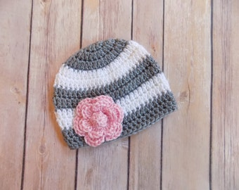 Baby Girl Hat, Crochet Baby Beanie, Striped Doll Hat with Flower, Baby Girl Clothes