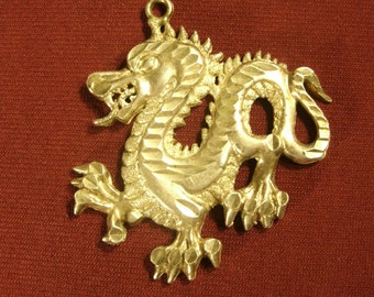 Sterling Silver Dragon Pendant Large Heavy 925 Silver Necklace Pendant Dragon Jewelry