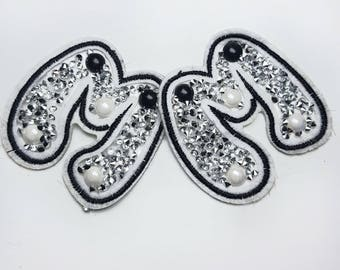 Iron On Rhinestones M or W Patch Badge Applique, Embroidered with Rhinestones Patch