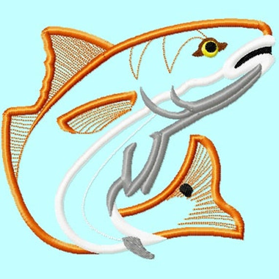 Red Fish Or Trout Applique Embroidery Designs 4 Sizes Included