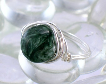 Seraphinite Sterling Silver Wire Wrapped Ring