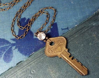 Vintage Key and 1940s Crystal Necklace with Antique Brass Chain Steampunk Upcycled Repurposed Jewelry
