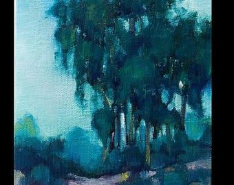 Original Mini Oil Marsh Landscape, River, Landscape, Clouds, Small Painting, beach, oak, summer