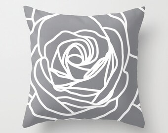 Rose pillow with insert  - Modern Flower - Slate grey - Pastel Home Decor -  By Aldari Home