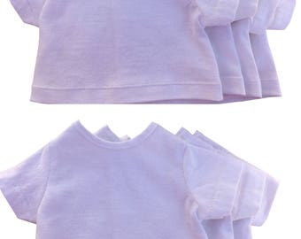 """Set of 8 white cotton T shirts for 18"""" dolls with back hook and loop tape closure"""