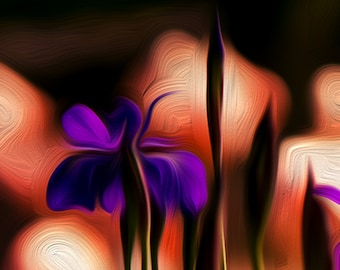 Abstract wall art, abstract photography, abstract decor, nature photograph, purple flowers, nature decor, digital painting, floral decor