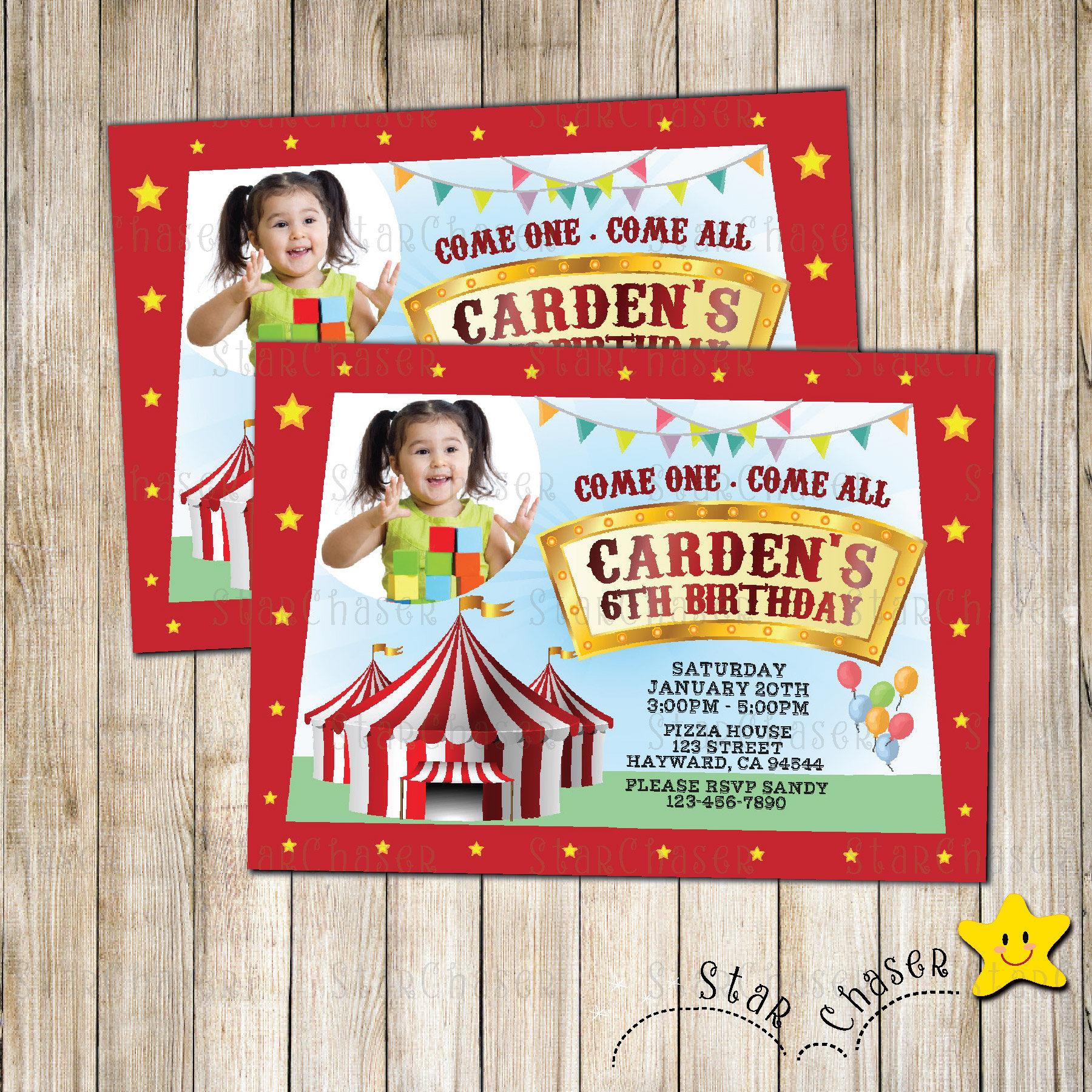 Digital Carnival birthday invitation. Circus birthday