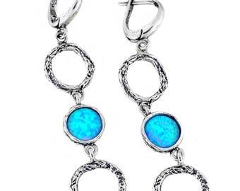 Silver Earrings, synth Opal Earrings, Sterling Silver Earrings, Silver Jewelry