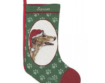 Greyhound Dog Personalized Christmas Stocking