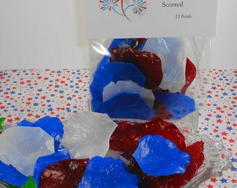 Fireworks Petal Soaps -Individual Rose Petal Soaps - Glycerin Soaps - Wedding Favor Soap - Guest Soap - Red, White and Blue Soap - Mini Soap