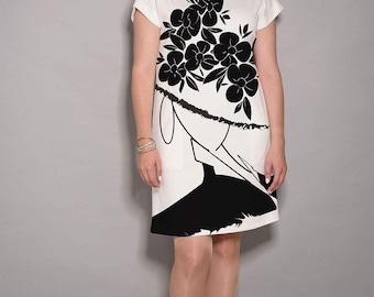 Black dress, White dress, party dress, women dresses, elegant dress, midi dress, comfortable dress, jersey dress, designer dress