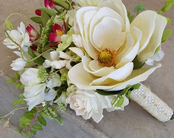 Custom Order Ivory Magnolia Fuchsia Sea Shell Bridal Bouquet