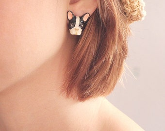 French Bulldog Earrings Black and White