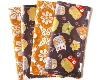 Kids Cloth Napkins, Cotton Reversible Napkins, Set of 4, Owl Print, Double Sided Lunchbox Napkins, 2 Ply, Reusable, Washable, EcoFriendly