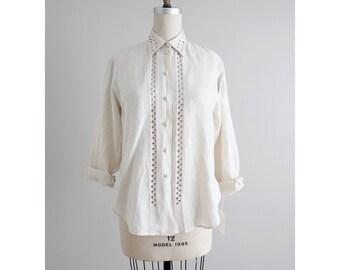 pale beige linen blouse | cut out blouse | 90s linen blouse