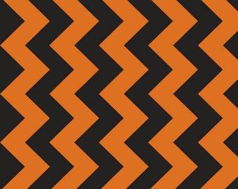 """Medium Chevron Orange/Black 58"""" Wide  by Riley Blake Designs 1 yard cut - Chevron Fabric- Extra Wide Fabric"""