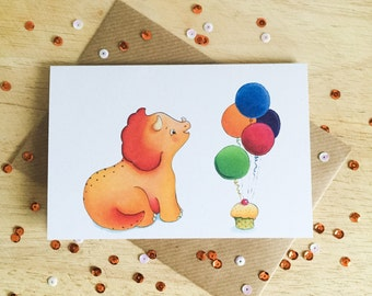 Triceratops celebration - dinosaur greeting card for birthdays and celebrations