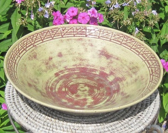SALE Large Patricia Bowl with Carving around rim - See shop for more Handmade pottery