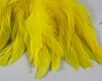 yellow  feathers Strung Schlappen Dyed 6 to 8 inches  SCH-01