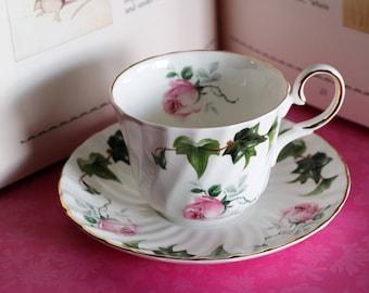 Vintage - Regency Teacup and Saucer - Bone China - Roses & Ivy Pattern - Made in England