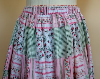 cotton calico print maxi skirt gathered at waist 3 tiers