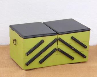 60s Sewing Box - Vintage Knitting Basket - Jewelry Box - Home Decor