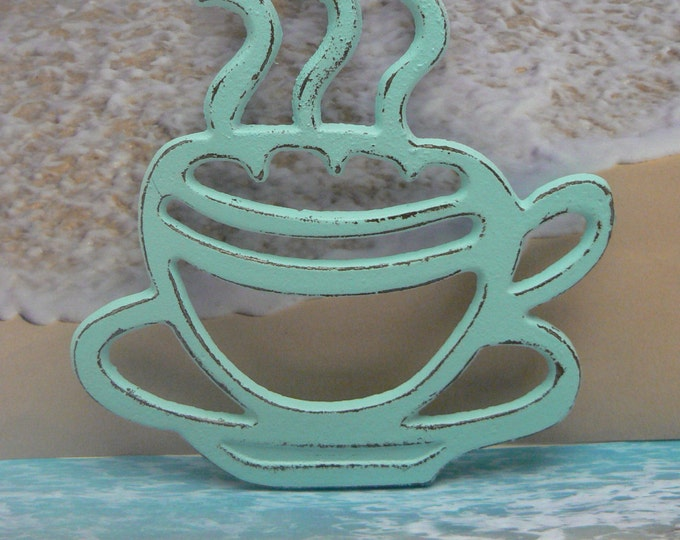 Cast Iron Coffee Cup Trivet Beach Blue Shabby Chic Tea Cup Kitchen Hot Plate Home Decor